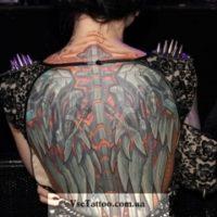 Стальные крылья на спине биомеханика тату