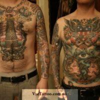 Татуировка на все тело в стиле олд скул