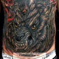 Волк в стиле олд скул эскиз