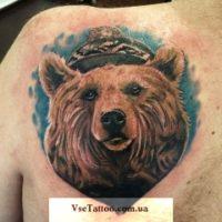 тату реализм медведь