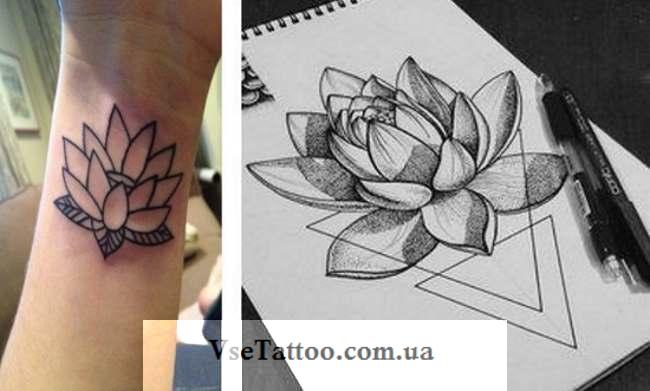 фото татуировки кувшинка на запястье