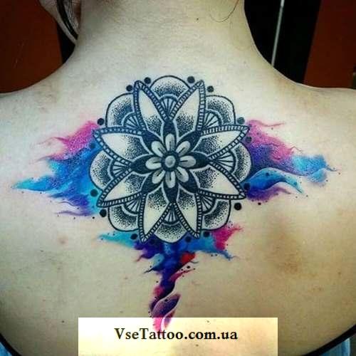 mandala tattoo в стиле акварель