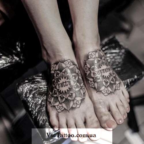 татуировка мандала на ногах