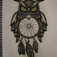 Эскиз совы с ловцом снов