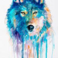 Цветной волк для тату в стиле акварель