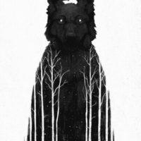 Волк с лесом идея для тату