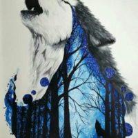 Волк с лесом в цвете для тату