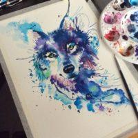 Рисунок волка в стиле акварель