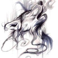Креативный волк для тату в стиле акварель