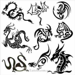 эскизы тату с изображением дракона