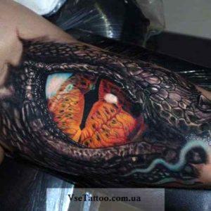 фото татуировки глаз дракона ярко оранжевый