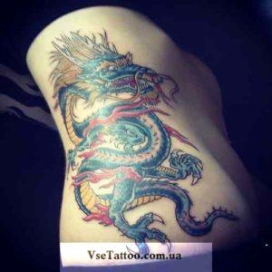 изображение татуировки дракон на боку живота у девушки