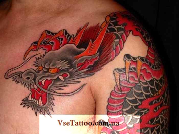 фото тату японский дракон на плече