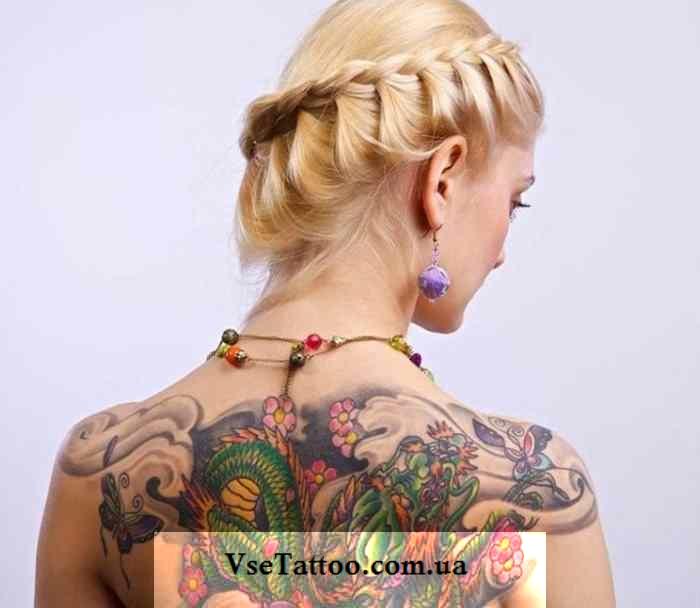 фото татуировки японский дракон на спине у девушки