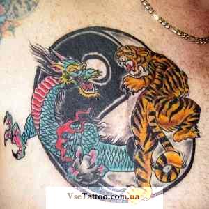 тату инь-ян тигр и дракон