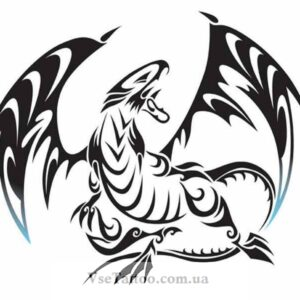 тату белого дракона эскиз 2