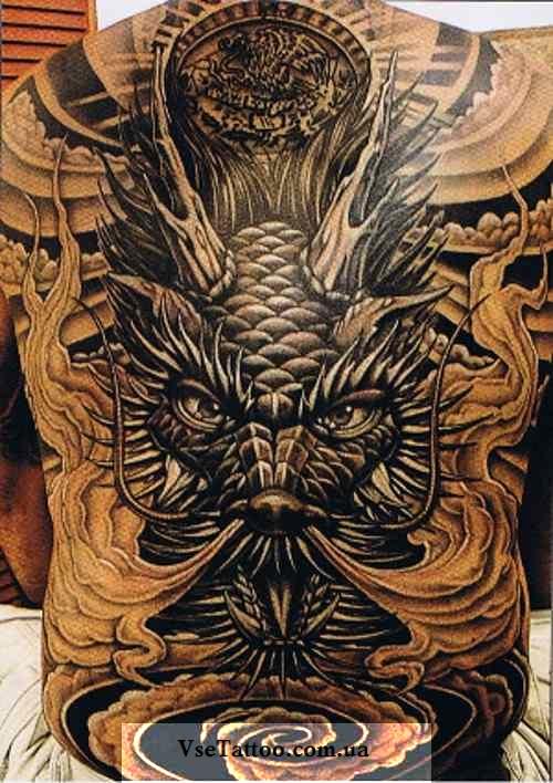 фото тату азиатского белого дракона