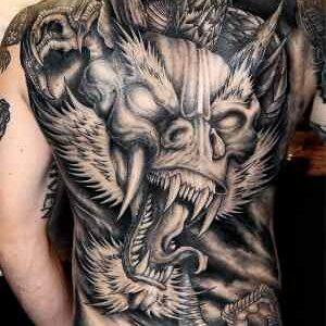 фото тату европейский белый дракон на спине