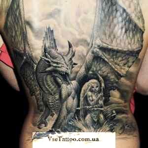 фото татуировки белый дракон