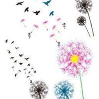 Цветной одуванчик с птицами
