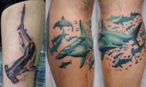 фото тату акула-молот и дополнительные элементы 2